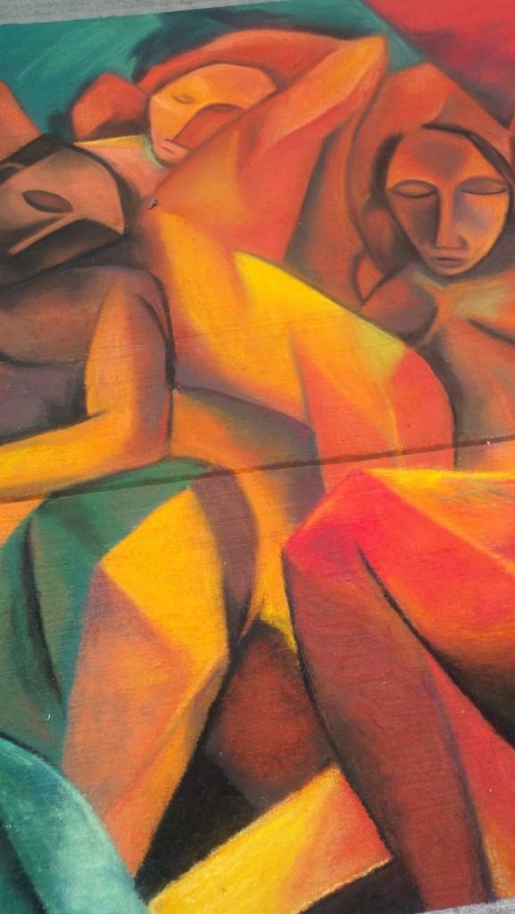 Cezanne-inspired chalk art, Larimer Square.