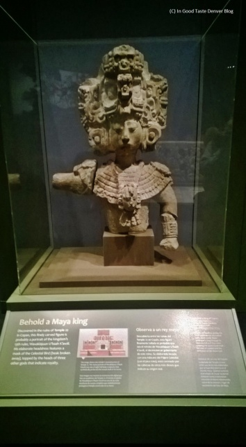 """Mayan King statue in the """"Maya: Hidden Worlds Revealed"""" exhibition currently at the Denver Museum of  Nature and Science."""
