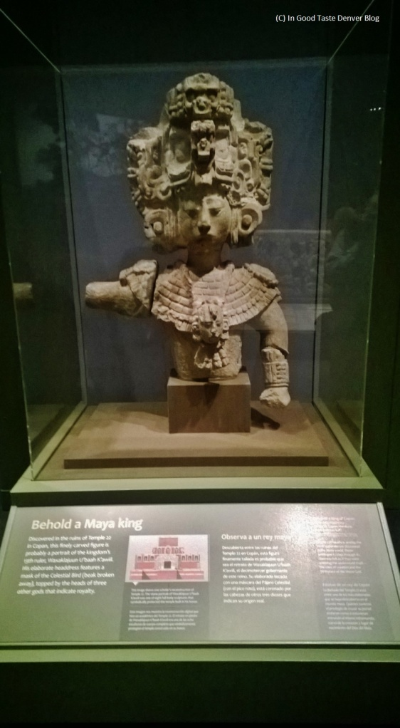 "Mayan King statue in the ""Maya: Hidden Worlds Revealed"" exhibition currently at the Denver Museum of  Nature and Science."